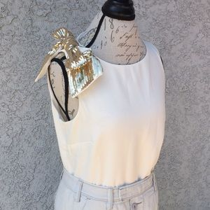 J Crew Gold Sequin Cream Chiffon Blouse 👚 Shirt